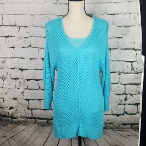 Chico's Turquoise Crochet Knit Tunic Size 1